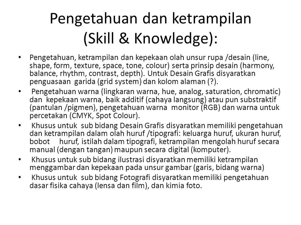 Pengetahuan dan ketrampilan (Skill & Knowledge):