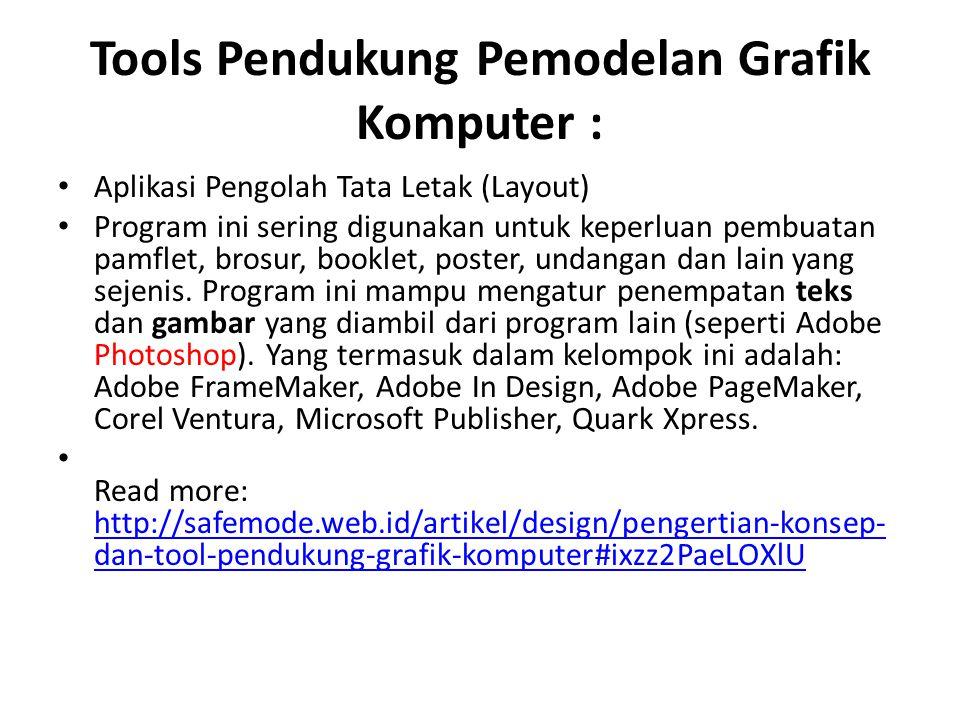 Tools Pendukung Pemodelan Grafik Komputer :