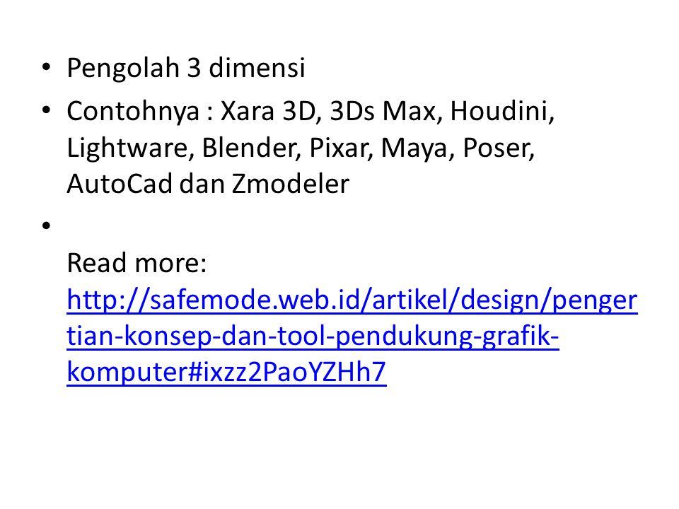 Pengolah 3 dimensi Contohnya : Xara 3D, 3Ds Max, Houdini, Lightware, Blender, Pixar, Maya, Poser, AutoCad dan Zmodeler.