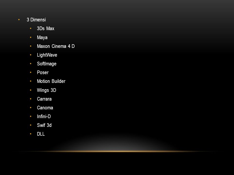 3 Dimensi 3Ds Max. Maya. Maxon Cinema 4 D. LightWave. Softlmage. Poser. Motion Builder. Wings 3D.