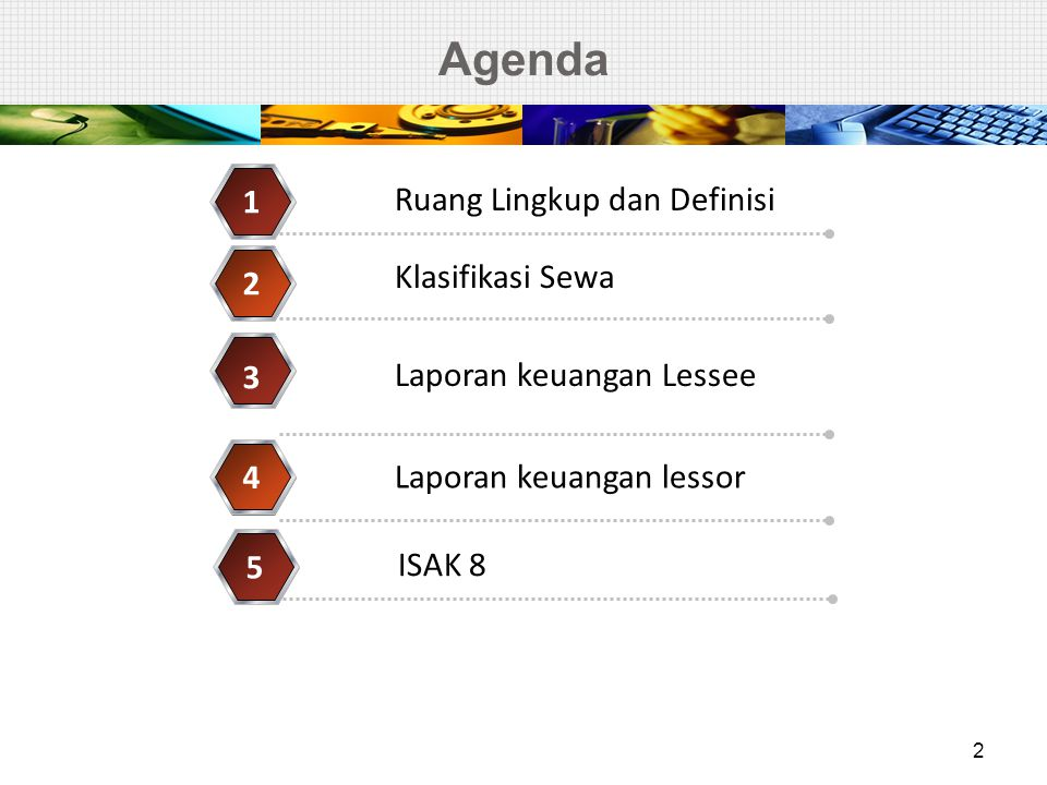 Agenda 1 Ruang Lingkup dan Definisi Klasifikasi Sewa 2 3