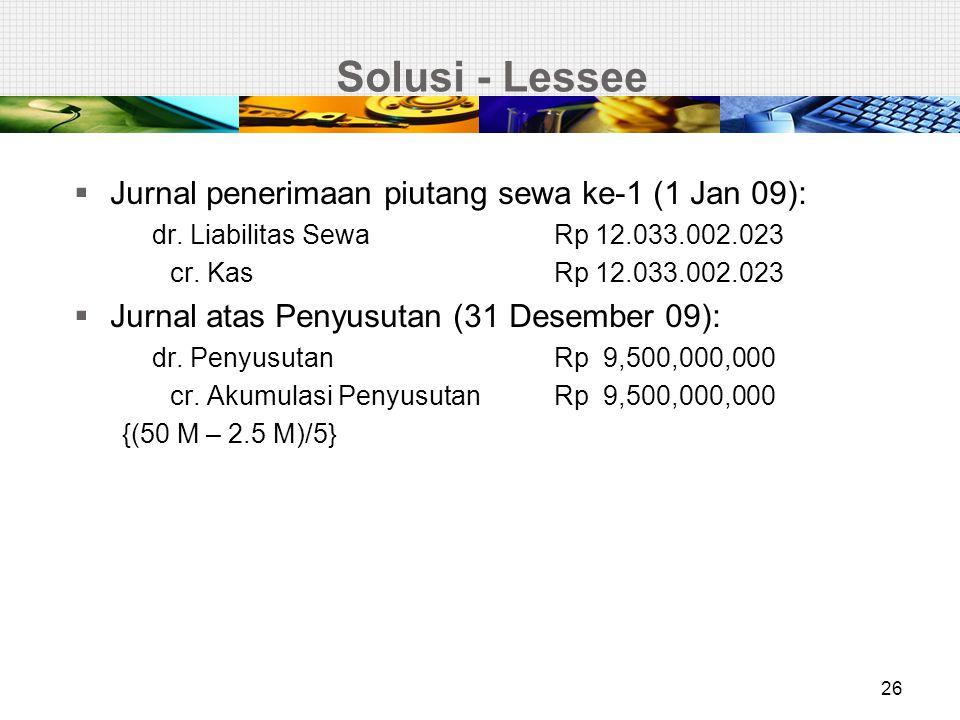 Solusi - Lessee Jurnal penerimaan piutang sewa ke-1 (1 Jan 09):