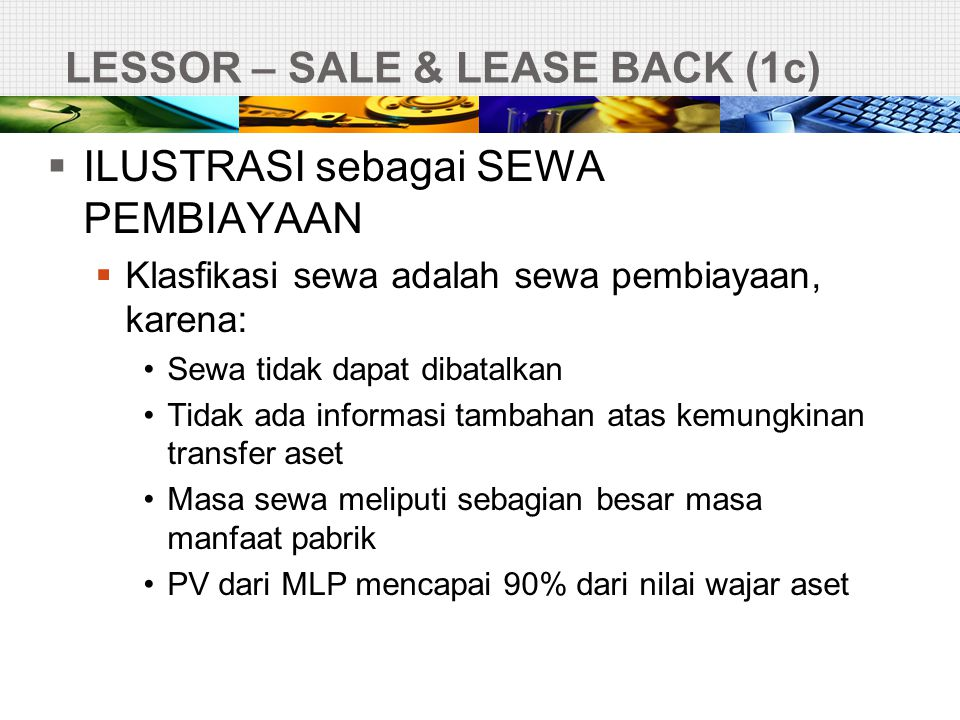 LESSOR – SALE & LEASE BACK (1c)