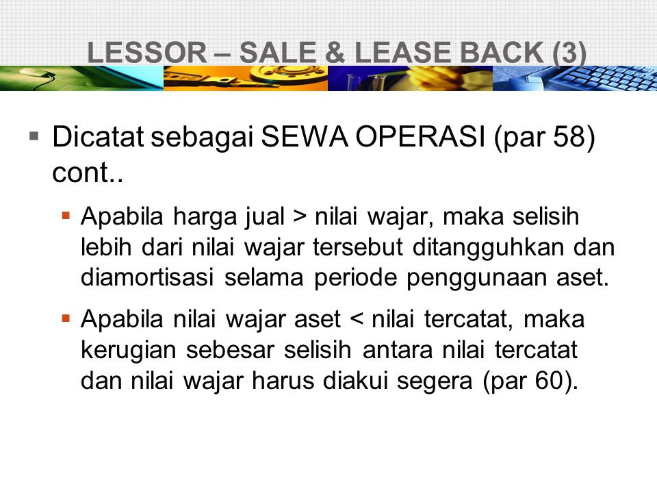 LESSOR – SALE & LEASE BACK (3)