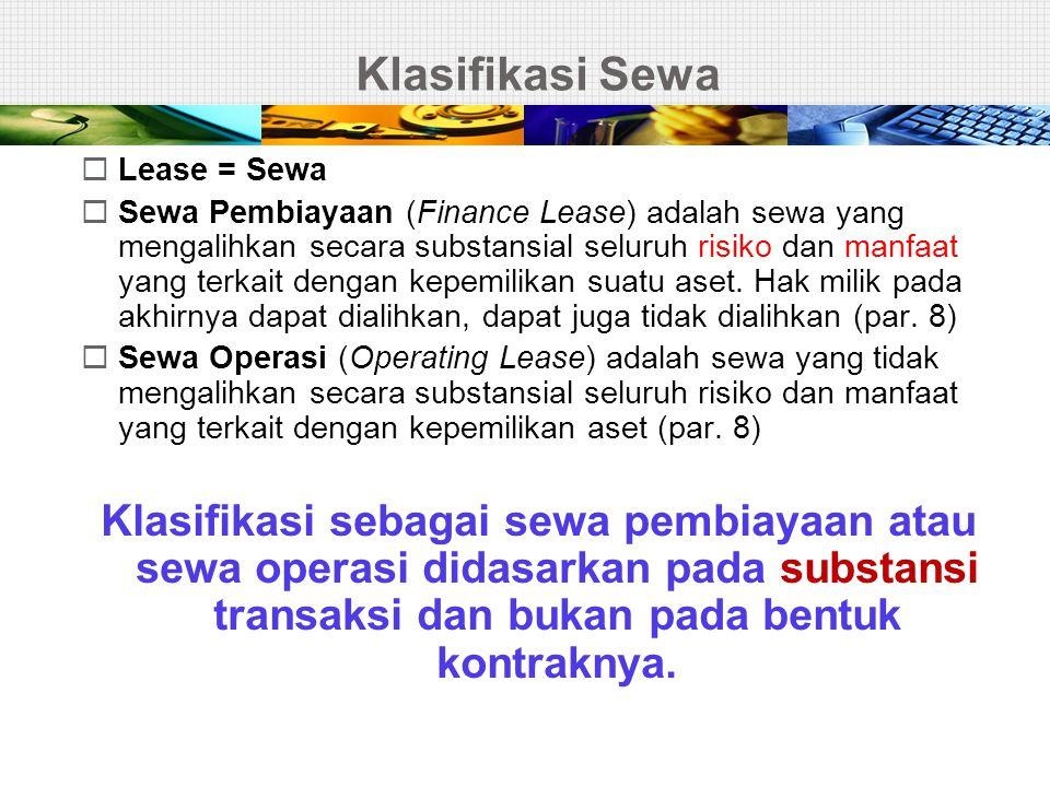 Klasifikasi Sewa Lease = Sewa.