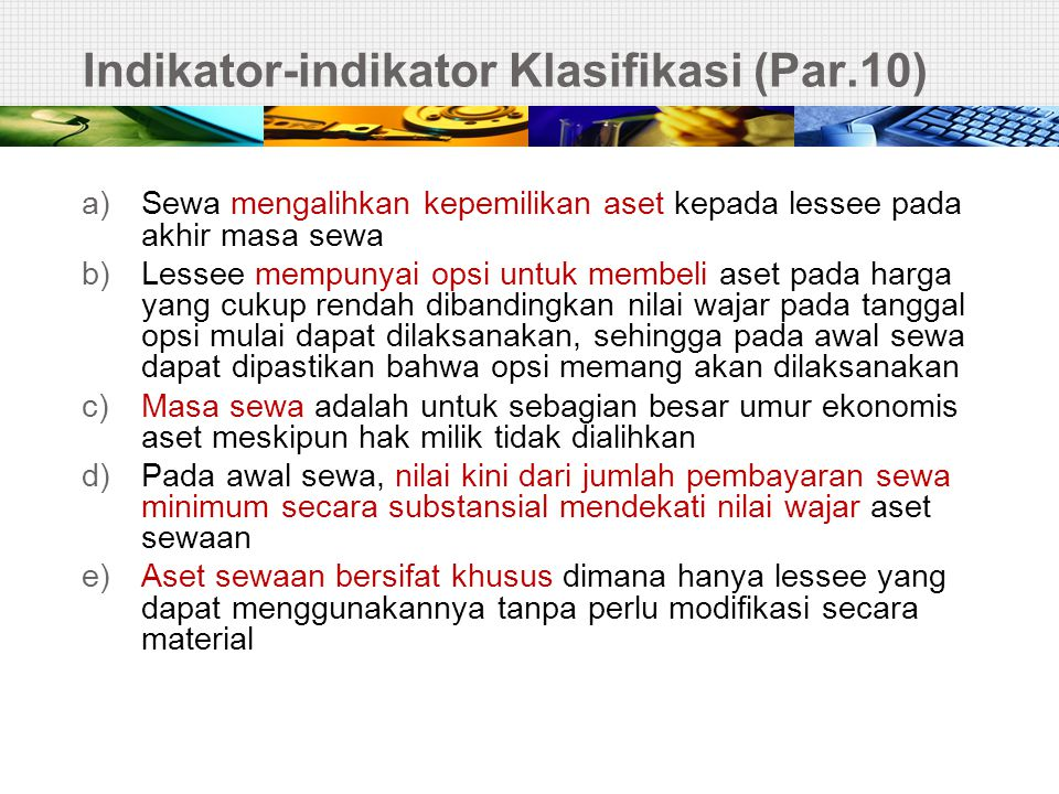 Indikator-indikator Klasifikasi (Par.10)