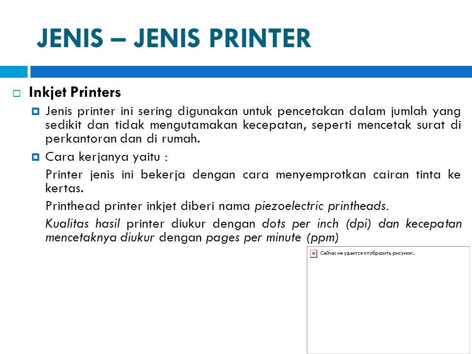 JENIS – JENIS PRINTER Inkjet Printers