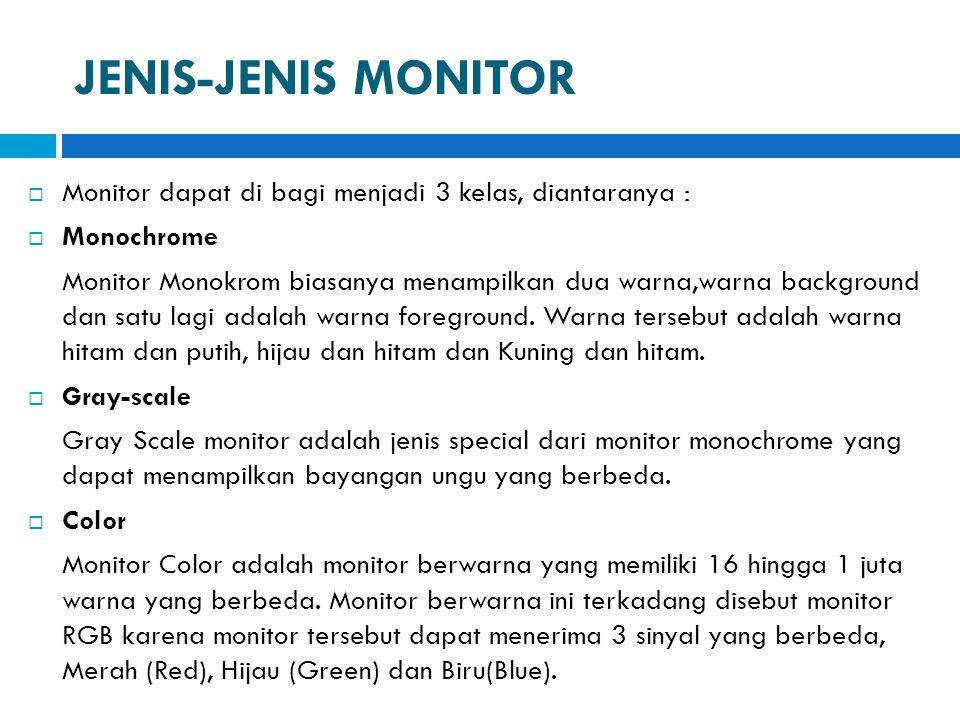 JENIS-JENIS MONITOR Monitor dapat di bagi menjadi 3 kelas, diantaranya : Monochrome.