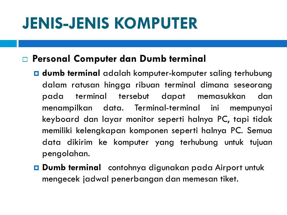 JENIS-JENIS KOMPUTER Personal Computer dan Dumb terminal