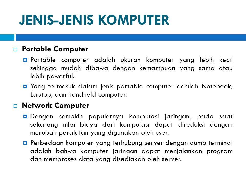 JENIS-JENIS KOMPUTER Portable Computer Network Computer