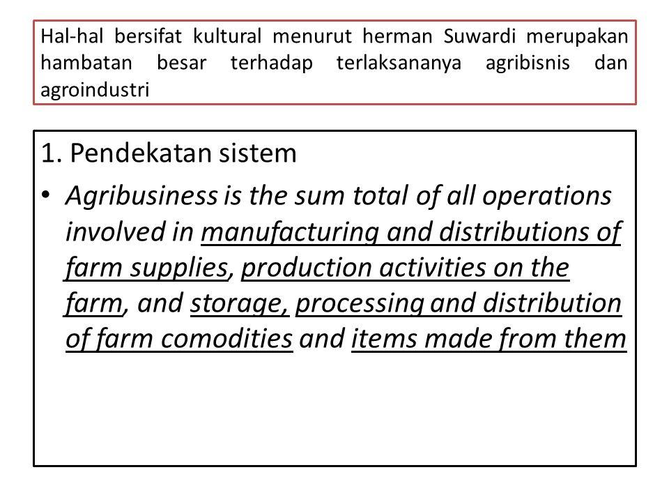 Hal-hal bersifat kultural menurut herman Suwardi merupakan hambatan besar terhadap terlaksananya agribisnis dan agroindustri