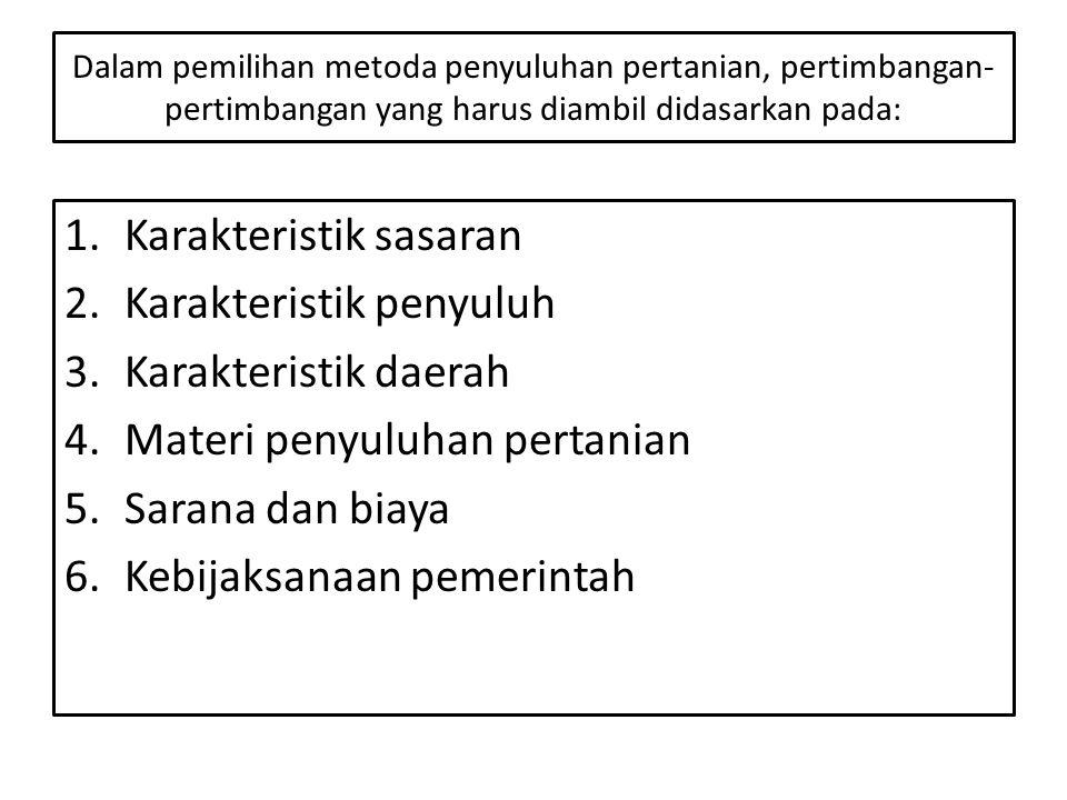 Karakteristik sasaran Karakteristik penyuluh Karakteristik daerah