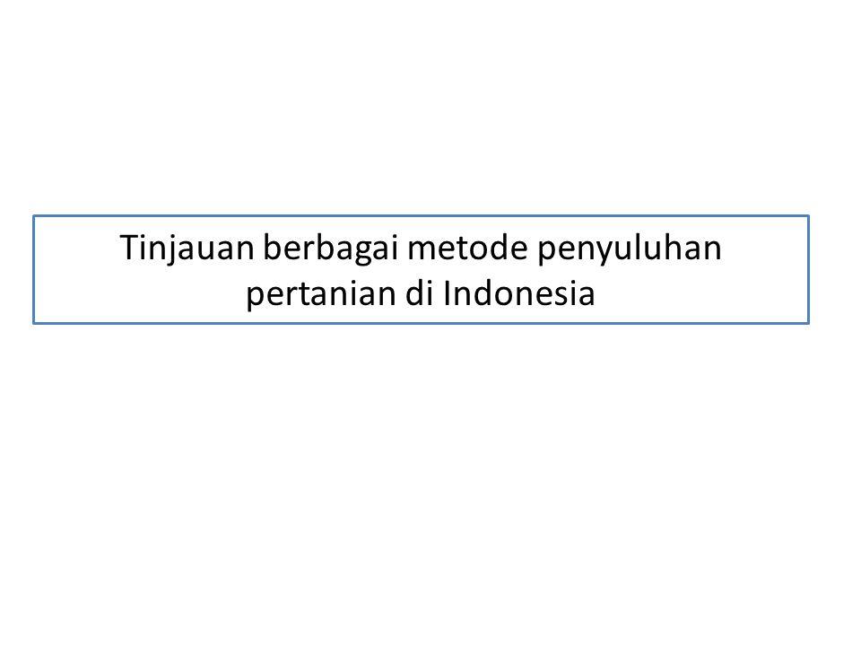 Tinjauan berbagai metode penyuluhan pertanian di Indonesia