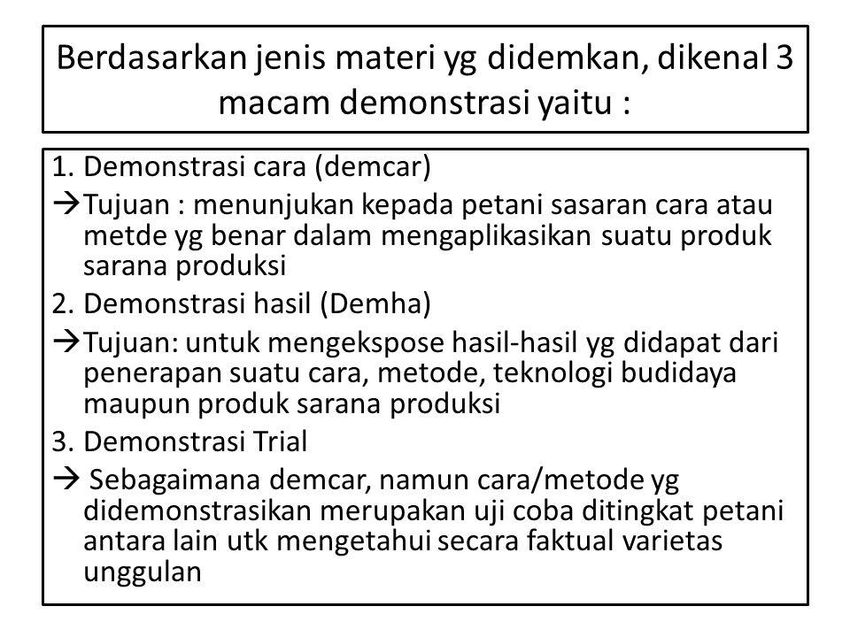 Berdasarkan jenis materi yg didemkan, dikenal 3 macam demonstrasi yaitu :