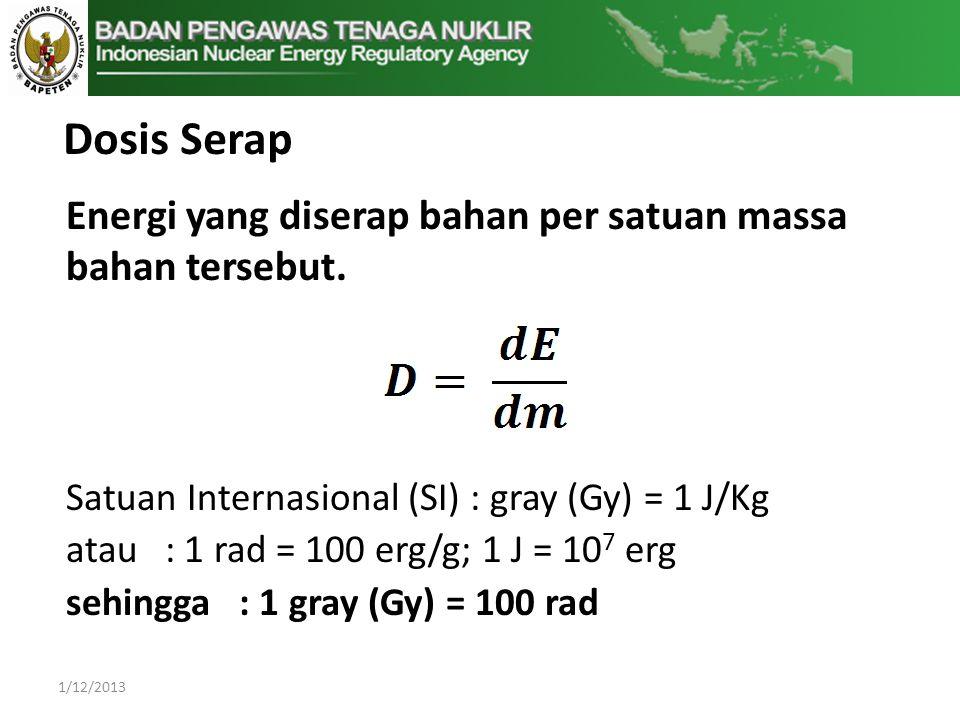 Dosis Serap Energi yang diserap bahan per satuan massa bahan tersebut.