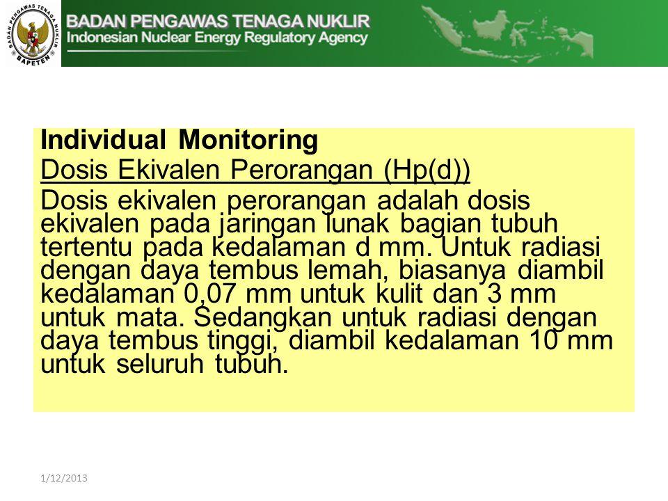 Individual Monitoring Dosis Ekivalen Perorangan (Hp(d))