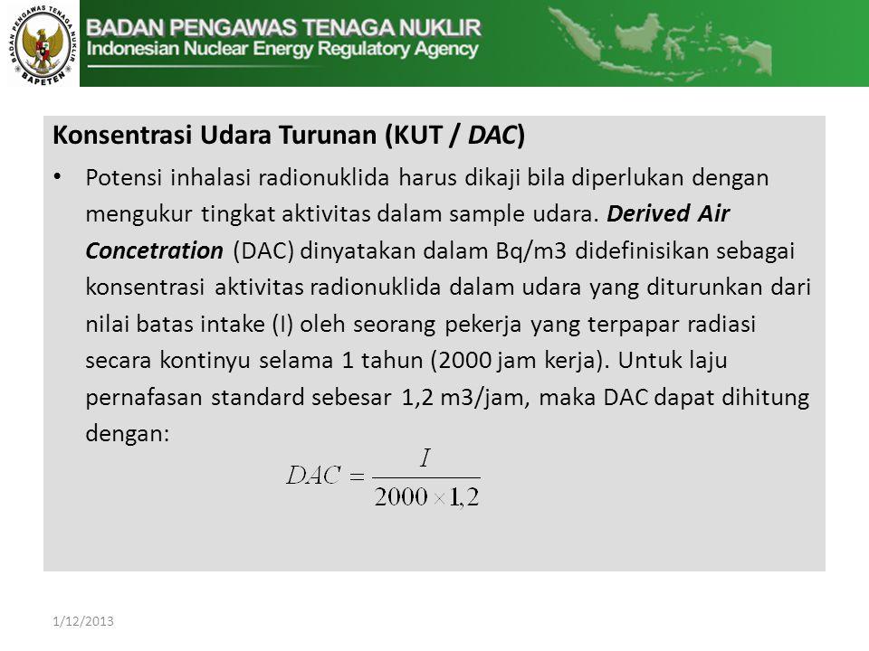 Konsentrasi Udara Turunan (KUT / DAC)