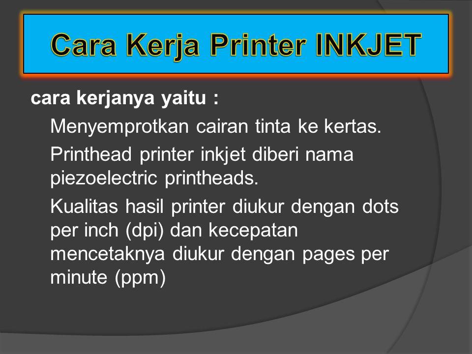 Cara Kerja Printer INKJET