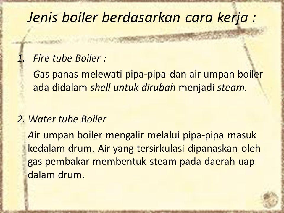 Jenis boiler berdasarkan cara kerja :
