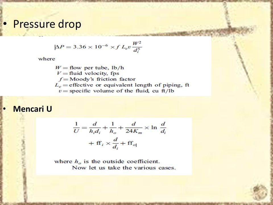 Pressure drop Mencari U