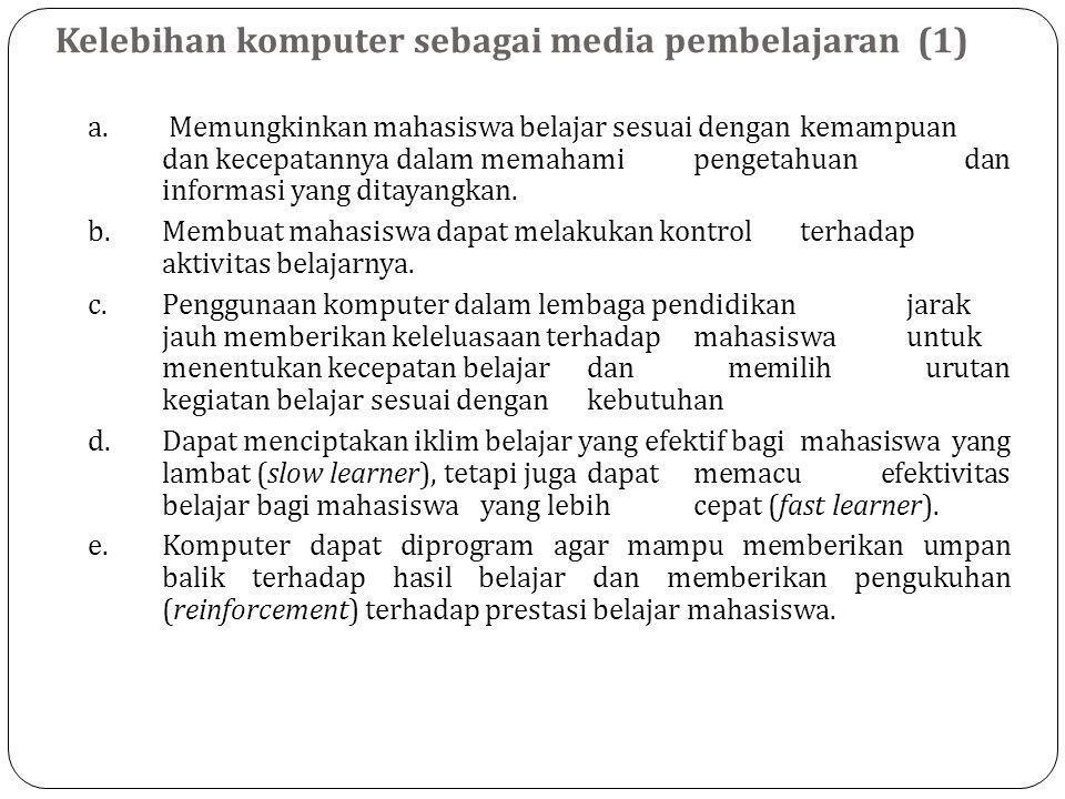 Kelebihan komputer sebagai media pembelajaran (1)