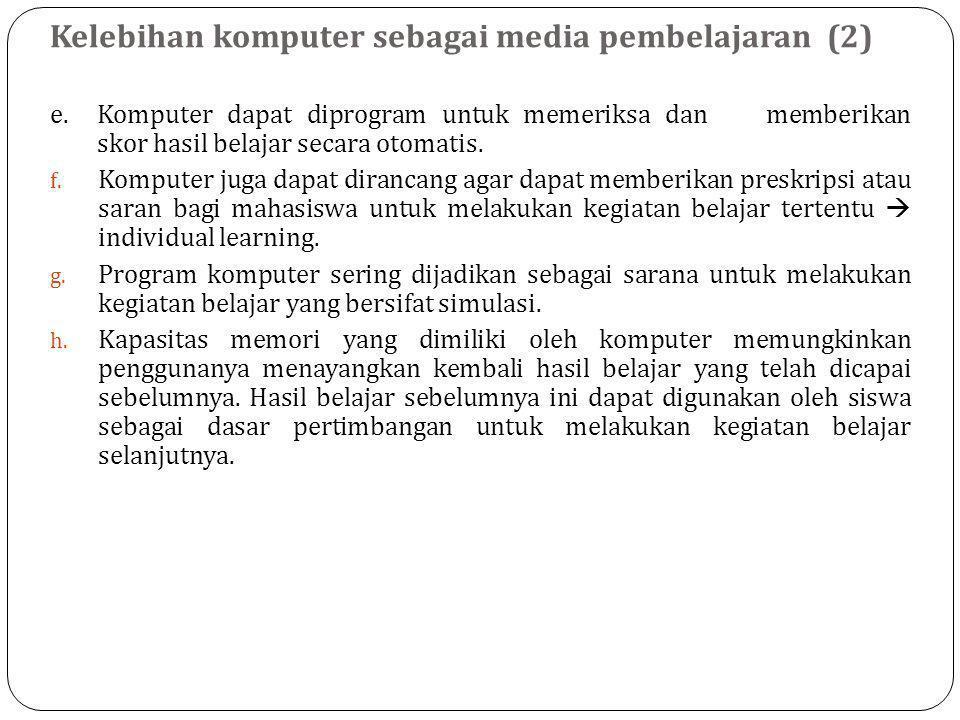 Kelebihan komputer sebagai media pembelajaran (2)