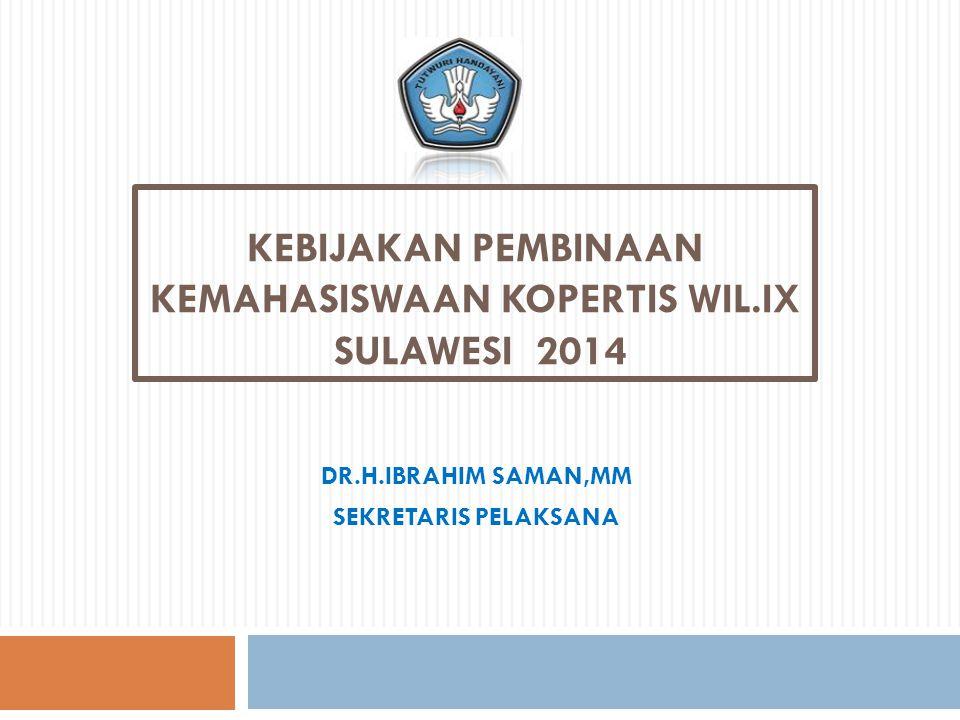 Kebijakan PEMBINAAN Kemahasiswaan KOPERTIS WIL.IX SULAWESI 2014