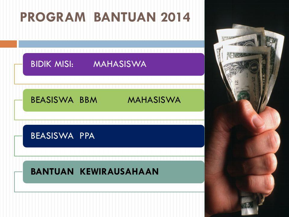 PROGRAM BANTUAN 2014 BIDIK MISI: MAHASISWA BEASISWA BBM MAHASISWA