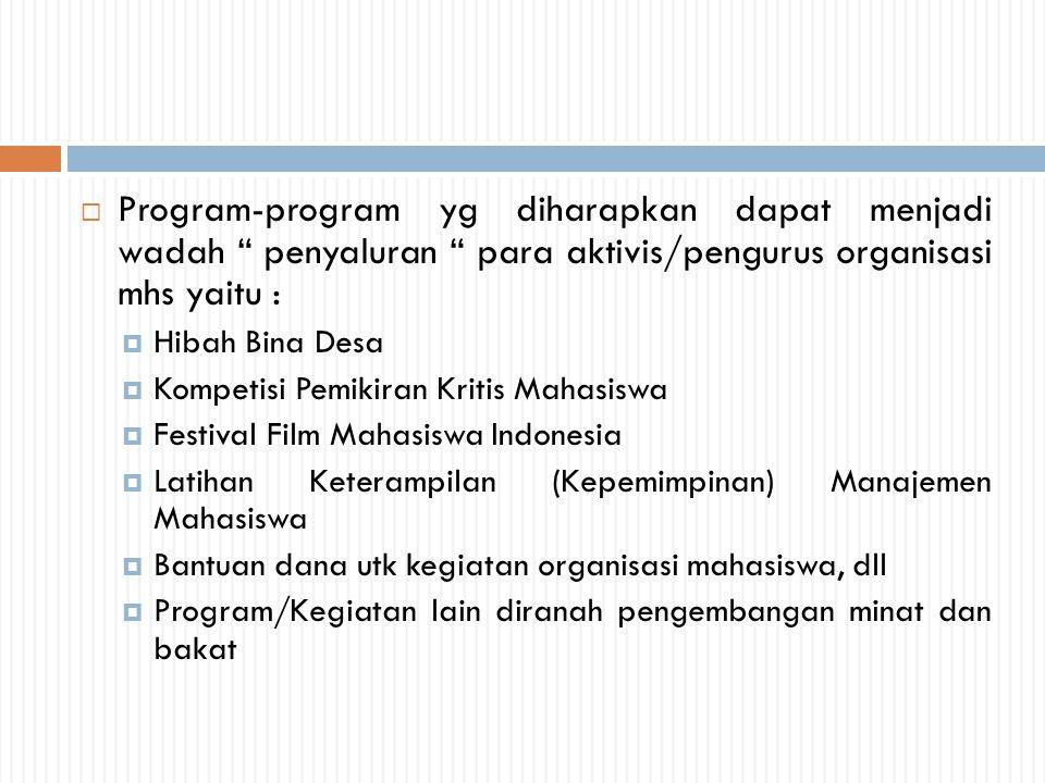 Program-program yg diharapkan dapat menjadi wadah penyaluran para aktivis/pengurus organisasi mhs yaitu :