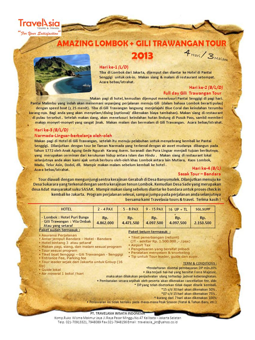 AMAZING LOMBOK + GILI TRAWANGAN TOUR PT. TRAVELASIA WISATA INDONESIA