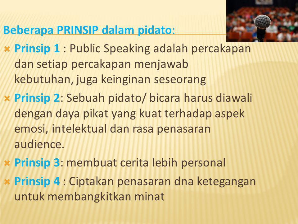 Beberapa PRINSIP dalam pidato: