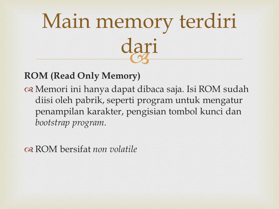 Main memory terdiri dari