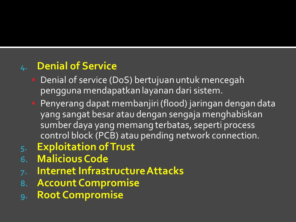 Internet Infrastructure Attacks Account Compromise Root Compromise