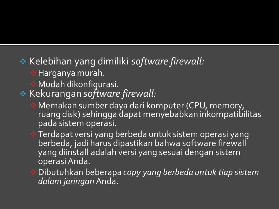 Kelebihan yang dimiliki software firewall:
