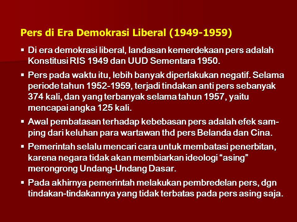 Pers di Era Demokrasi Liberal (1949-1959)