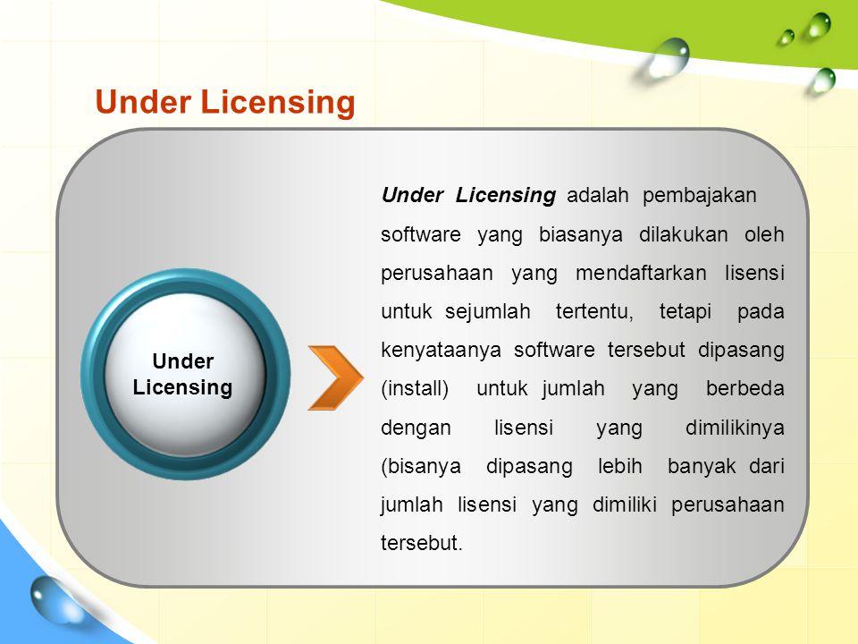 Under Licensing Under Licensing adalah pembajakan