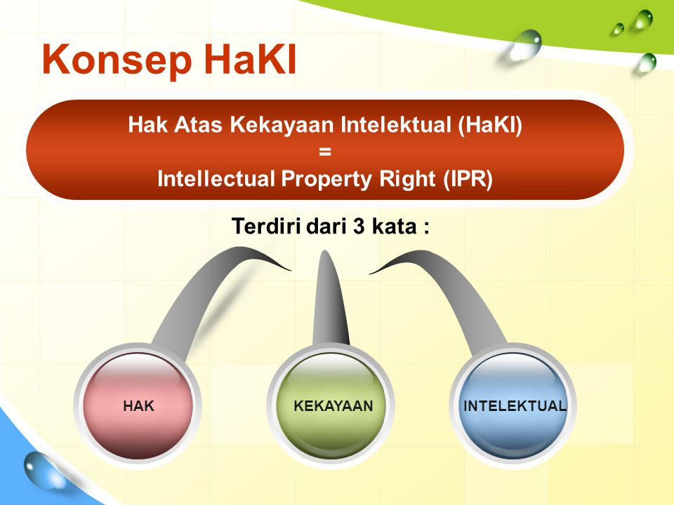 Hak Atas Kekayaan Intelektual (HaKI) Intellectual Property Right (IPR)