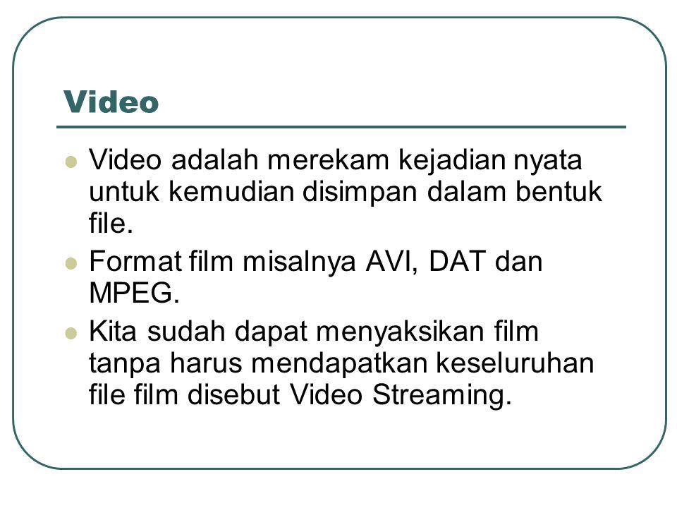 Video Video adalah merekam kejadian nyata untuk kemudian disimpan dalam bentuk file. Format film misalnya AVI, DAT dan MPEG.