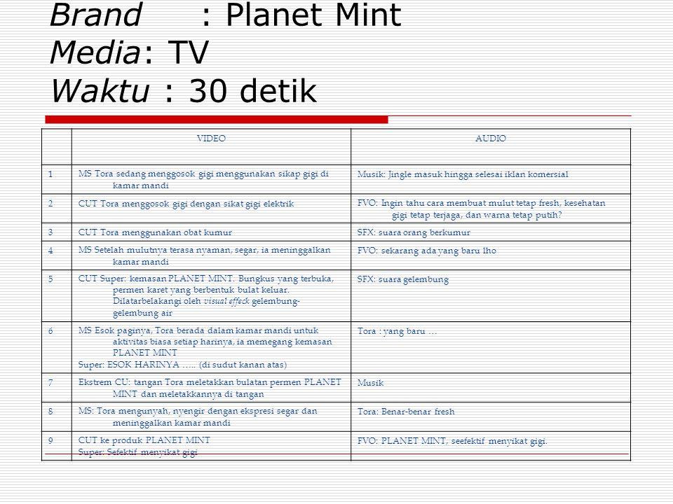 Brand : Planet Mint Media: TV Waktu : 30 detik