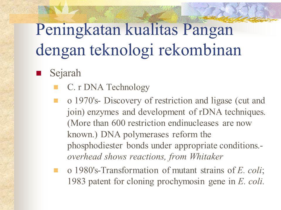 Peningkatan kualitas Pangan dengan teknologi rekombinan