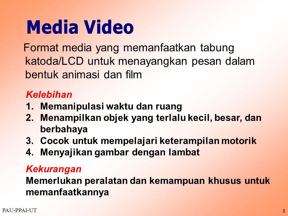 Media Video Format media yang memanfaatkan tabung katoda/LCD untuk menayangkan pesan dalam bentuk animasi dan film.