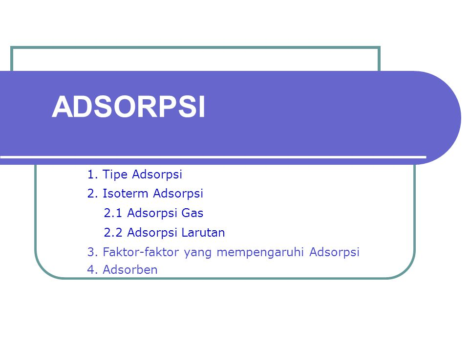 ADSORPSI 1. Tipe Adsorpsi 2. Isoterm Adsorpsi 2.1 Adsorpsi Gas