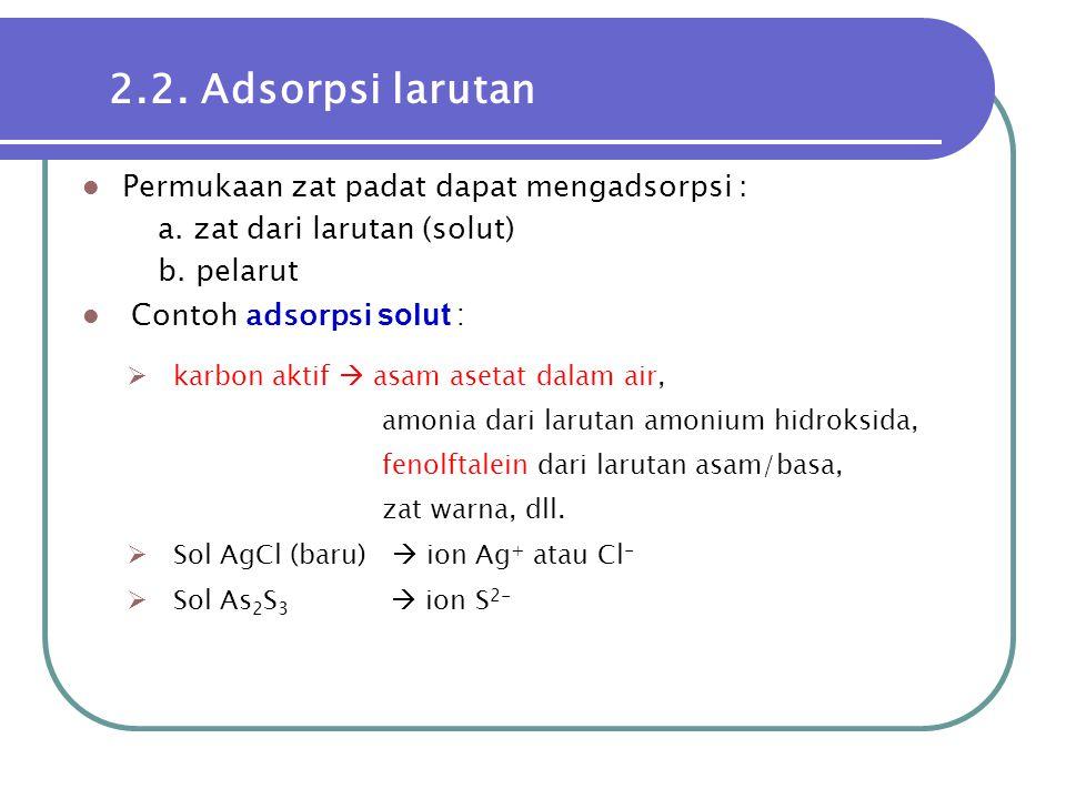 2.2. Adsorpsi larutan Permukaan zat padat dapat mengadsorpsi :