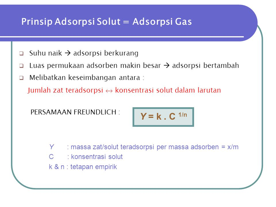 Prinsip Adsorpsi Solut = Adsorpsi Gas