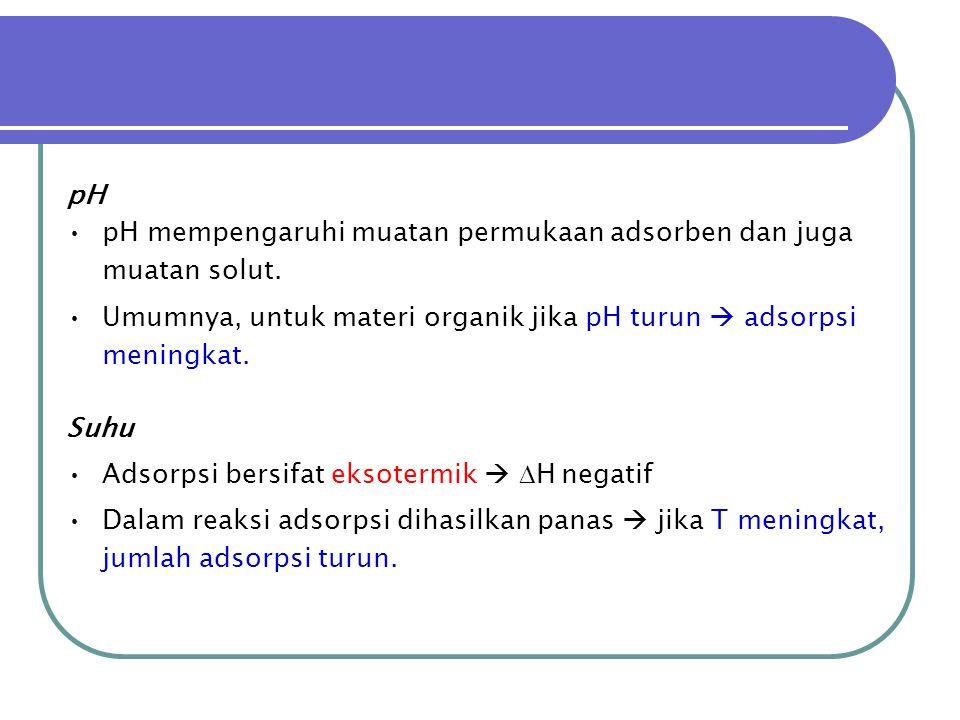 pH pH mempengaruhi muatan permukaan adsorben dan juga muatan solut. Umumnya, untuk materi organik jika pH turun  adsorpsi meningkat.