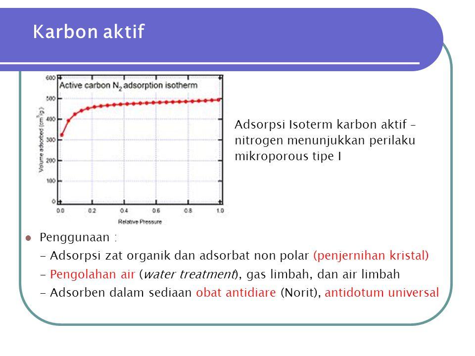 Karbon aktif Adsorpsi Isoterm karbon aktif – nitrogen menunjukkan perilaku mikroporous tipe I. Penggunaan :