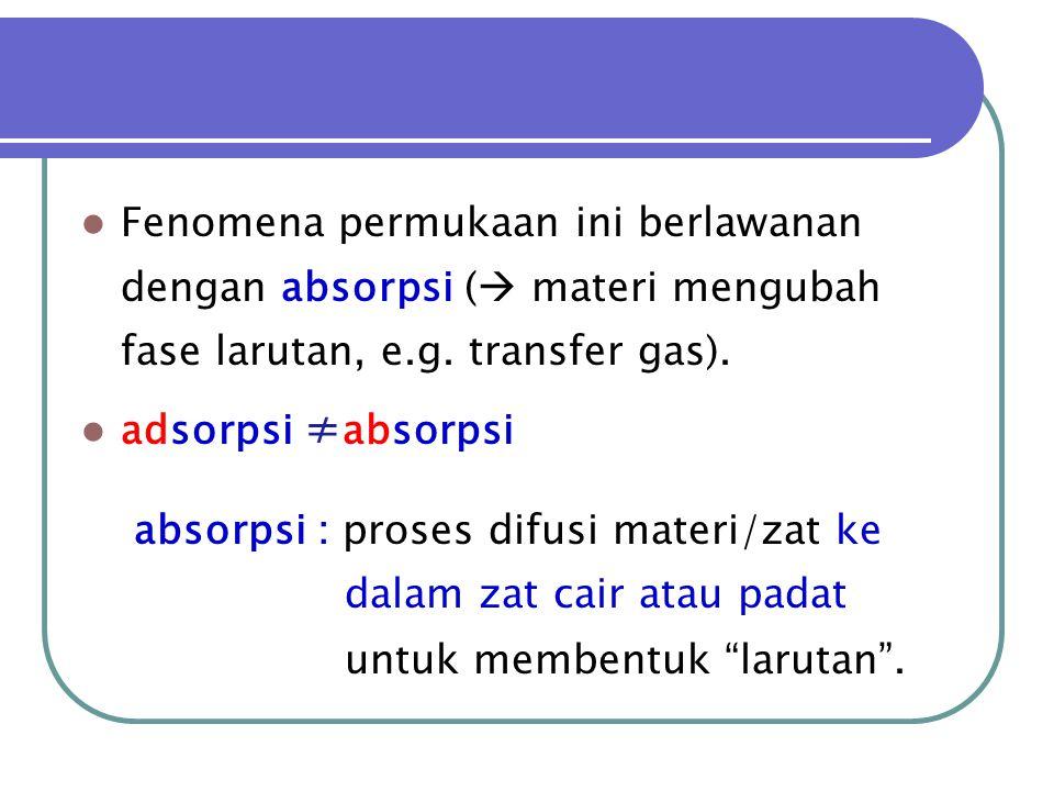 Fenomena permukaan ini berlawanan dengan absorpsi ( materi mengubah fase larutan, e.g. transfer gas).