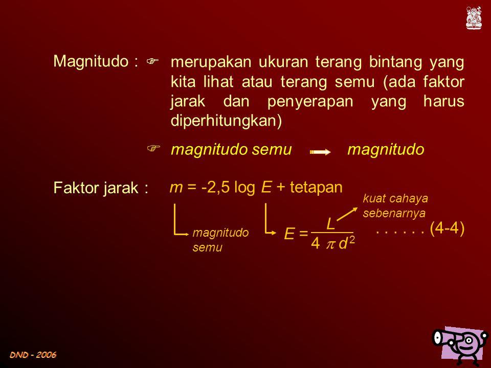 Magnitudo : merupakan ukuran terang bintang yang kita lihat atau terang semu (ada faktor jarak dan penyerapan yang harus diperhitungkan)