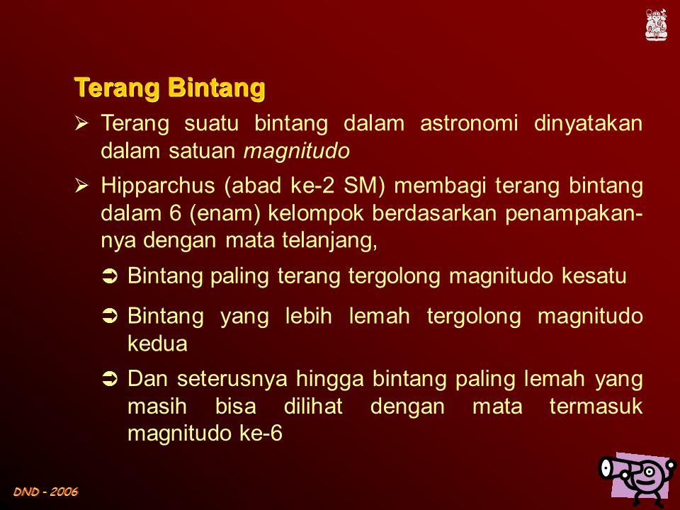 Terang Bintang Terang suatu bintang dalam astronomi dinyatakan dalam satuan magnitudo.
