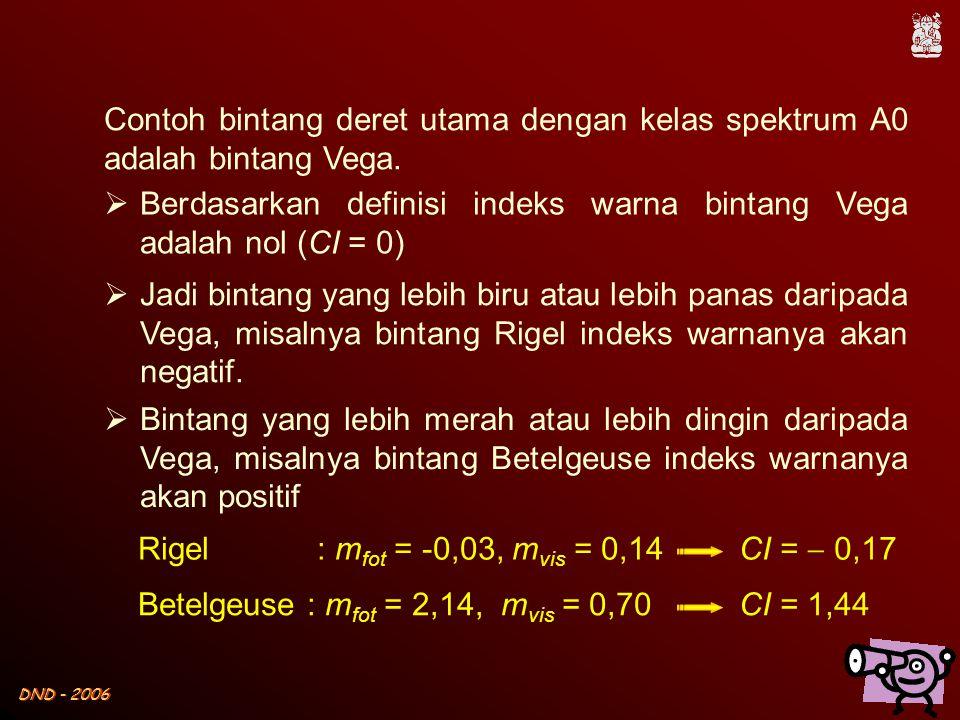 Contoh bintang deret utama dengan kelas spektrum A0 adalah bintang Vega.
